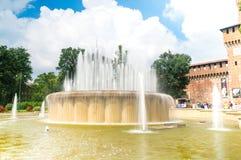 Di Piazza Castello springbrunn royaltyfria foton