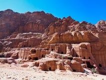 di pietra alloggia e frana la Giordania fotografie stock libere da diritti