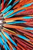 di piume colorate Multi nel copricapo del capo indiano del nativo americano Immagine Stock Libera da Diritti
