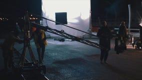 Di produzione cinematografica alla notte stock footage