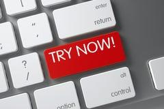 Di prova tastiera rossa ora sulla tastiera 3d Fotografia Stock Libera da Diritti