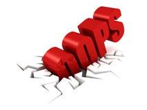 Di rosso lettere del testo OOPS in foro della crepa Fotografia Stock Libera da Diritti