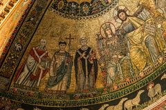 Di Santa Maria da basílica em Trastevere, Roma, Itália Imagens de Stock Royalty Free