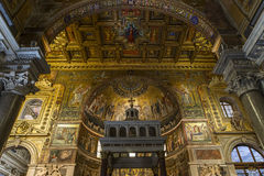 Di Santa Maria della basilica in Trastevere, Roma, Italia Immagini Stock