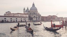 Di Santa Maria della Salute de las góndolas y de la basílica foto de archivo libre de regalías