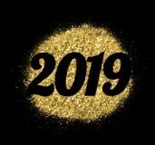 2019 di scintillio dell'oro su fondo bianco, simbolo del nuovo anno Fotografia Stock Libera da Diritti