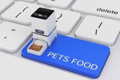 Di secos do alimentador da refeição do armazenamento do alimento do animal de estimação eletrônico automático de Digitas ilustração do vetor