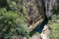 Di Su Gologone - fuente de Sorgenti de la primavera de agua dulce, Oliena, Nuoro, isla de Cerdeña, Italia fotos de archivo