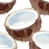Di una frutta esotica del modello metà senza cuciture di una noce di cocco tropicale Acqua fotografie stock