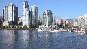 Di Vancouver orizzonte & barche a vela del sud di lungomare BC. Fotografia Stock Libera da Diritti