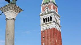 Di Venezia do Campanile com o leão voado vídeos de arquivo