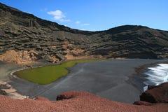 di verde Lago Lanzarote Spain fotografia stock