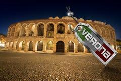 Di Verona dell'arena con l'etichetta del metallo Fotografia Stock Libera da Diritti