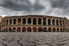 Di Verona, reggiseno della piazza, Verona, Italia dell'arena Fotografia Stock Libera da Diritti