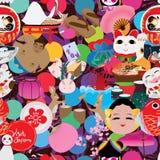 Di visita del Giappone del cerchio modello senza cuciture fuori illustrazione di stock