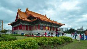 Dia ao vídeo do lapso da noite de Chiang Kai-shek Hall National Concert Hall memorável na cidade de Taipei, timelapse 4K de Taiwa filme