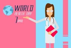 Dia April Holiday Banner do médico Woman World Healthy Fotos de Stock
