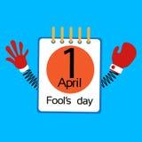 Dia April Holiday Greeting Card Banner do tolo da página do calendário com mãos da mola Imagem de Stock Royalty Free