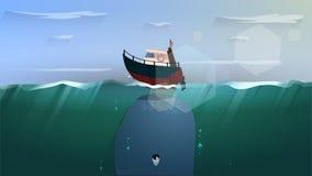 Dia bonito com grande baleia ilustração stock