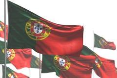 Dia bonito da ilustração da bandeira 3d - muitas bandeiras de Portugal é acenar isoladas em branco - foto com foco macio ilustração do vetor