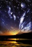 Dia contra a ilustração da paisagem da natureza da noite Imagem de Stock