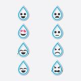 Dia da água do mundo, grupo do ícone da água da gota, projeto do pino Imagens de Stock