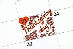 Dia da ação de graças do lembrete no calendário Imagem de Stock