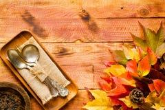 Dia da ação de graças, fundo das folhas de outono Fotografia de Stock