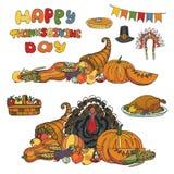 Dia da acção de graças Colheita da garatuja, grupo do feriado Imagens de Stock