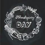 Dia da acção de graças colheita Grinalda linear quadro Fotos de Stock