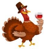 Dia da acção de graças Turquia em um chapéu que dá um brinde Fotos de Stock Royalty Free