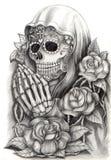 Dia da arte do crânio dos mortos Desenho da mão no papel Foto de Stock