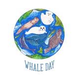 Dia da baleia ilustração do vetor