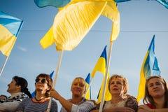 Dia da bandeira nacional em Ucrânia fotografia de stock royalty free