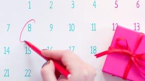 Dia da celebração da marcação da mão na página do calendário video estoque