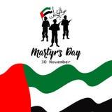 Dia da comemoração do dia do mártir dos UAE 30 de novembro traduza do árabe: Dia da comemoração do mártir ilustração royalty free
