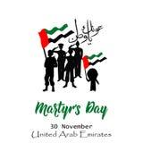Dia da comemoração do dia do mártir dos UAE 30 de novembro traduza do árabe: Dia da comemoração do mártir ilustração do vetor