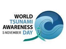 Dia da conscientização do tsunami do mundo ilustração stock