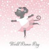 Dia da dança Ilustração do vetor por um feriado O rato dança como uma bailarina Desenho bonito Imagem de Stock