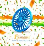 Dia da Independência da Índia Roda de Ashoka, ondas abstratas do fluxo e confetes nas cores da bandeira nacional indiana ilustração royalty free
