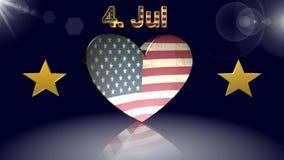 Dia da Independência, bandeira americana, a melhor 3D ilustração, a melhor animação vídeos de arquivo
