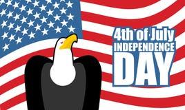 Dia da Independência de América Águia e bandeira dos EUA Feriado nacional Imagem de Stock Royalty Free