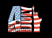Dia da Independência de América Estátua da liberdade e bandeira dos EUA em g ilustração stock