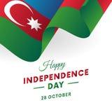 Dia da Independência de Azerbaijão 28 de outubro Bandeira de ondulação Vetor Imagens de Stock