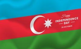 Dia da Independência de Azerbaijão 28 de outubro Bandeira de ondulação Vetor Fotografia de Stock Royalty Free