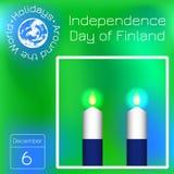 Dia da Independência de Finlandia Bandeira de Finlandia 2 brancos e velas azuis calendário Feriados em todo o mundo Evento de cad ilustração stock
