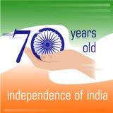 Dia da Independência de India 70 anos desde a independência da Índia Foto de Stock Royalty Free