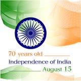 Dia da Independência de India 70 anos desde a independência da Índia Cartaz, bandeira Imagem da cor da bandeira indiana e Imagens de Stock Royalty Free