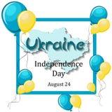 Dia da Independência de Ucrânia, o 24 de agosto molde do cartão Fotos de Stock