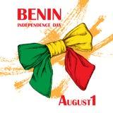 Dia da Independência do estado de Benin 1º de agosto Um feriado nacional patriótico no país africano Uma curva com a ilustração stock